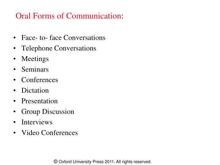 Oral Forms of Communication