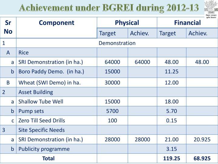 Achievement under BGREI during 2012-13