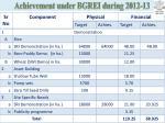 achievement under bgrei during 2012 13