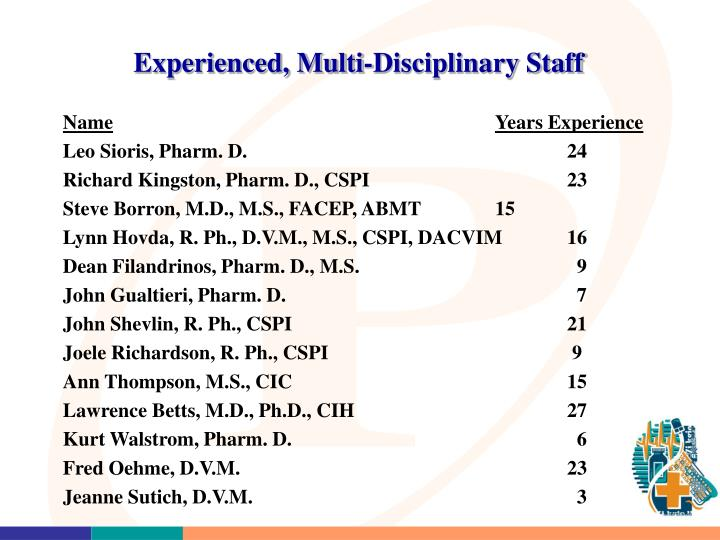 Experienced, Multi-Disciplinary Staff