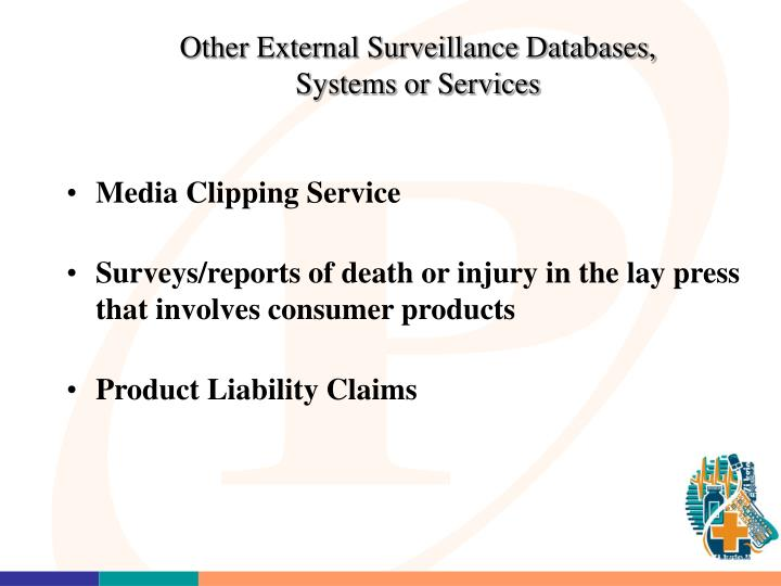 Other External Surveillance Databases, Systems or Services