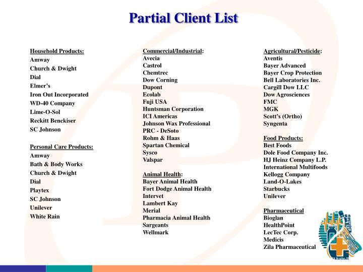 Partial Client List