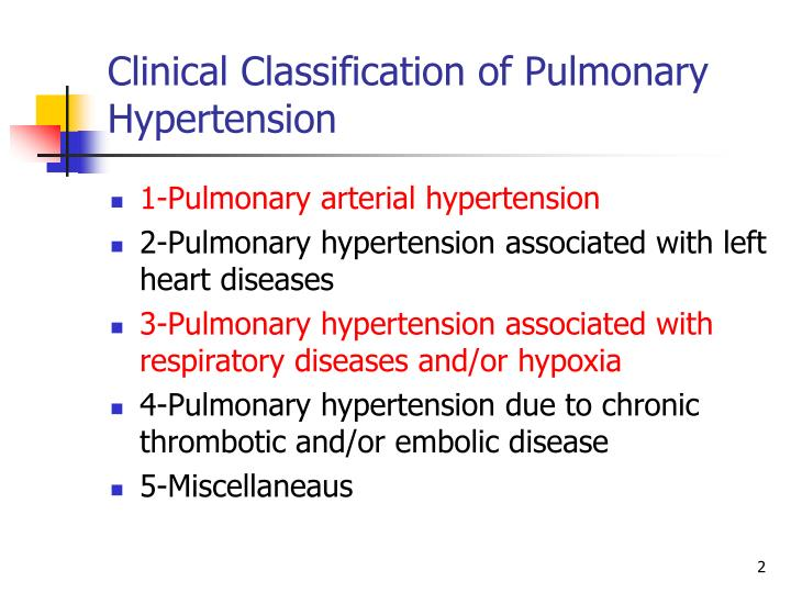 Clinical classification of pulmonary hypertension