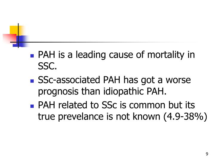 PAH is a leading cause of mortality in SSC.