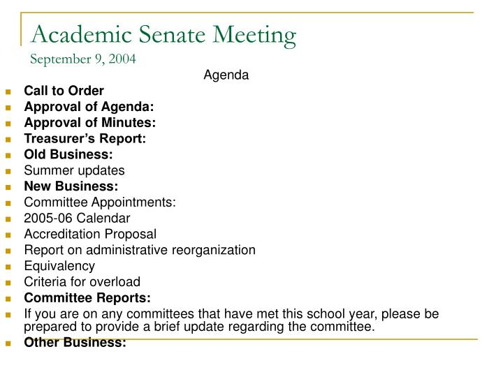 Academic senate meeting september 9 2004