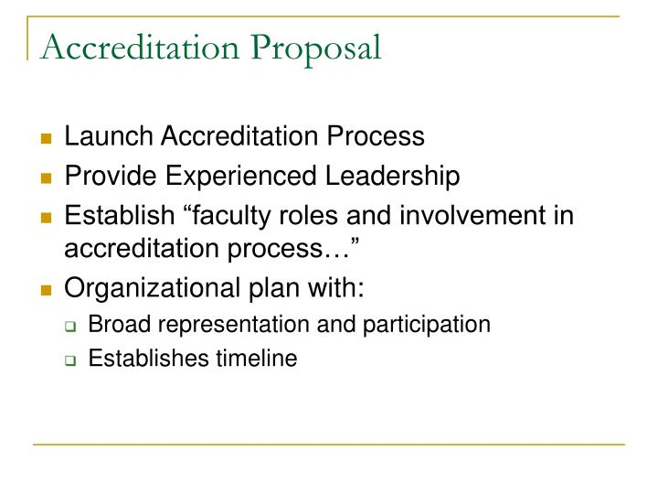 Accreditation Proposal