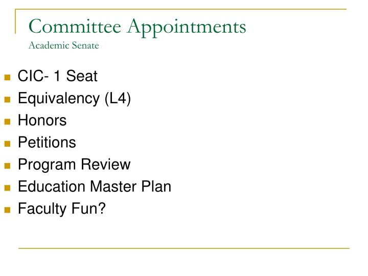 Committee appointments academic senate