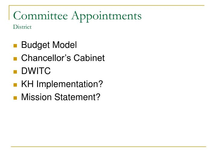 Committee Appointments