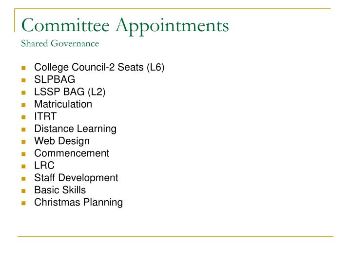 Committee appointments shared governance