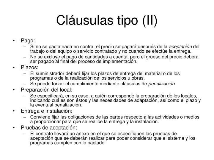 Cláusulas tipo (II)