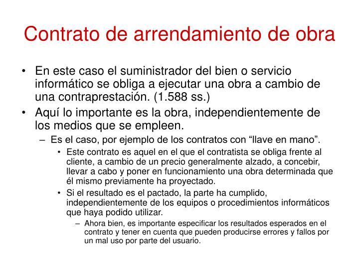 Contrato de arrendamiento de obra