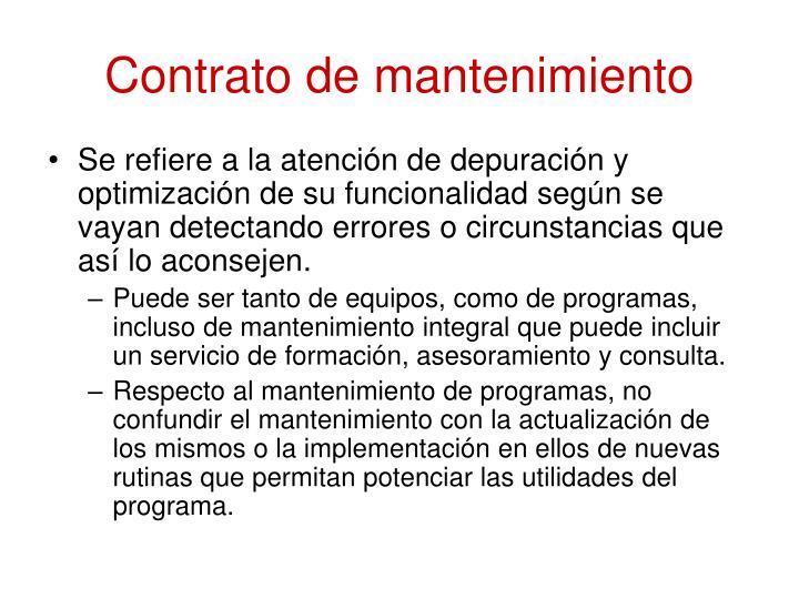 Contrato de mantenimiento
