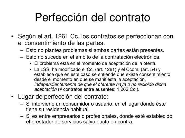 Perfección del contrato