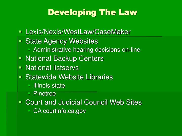 Developing The Law