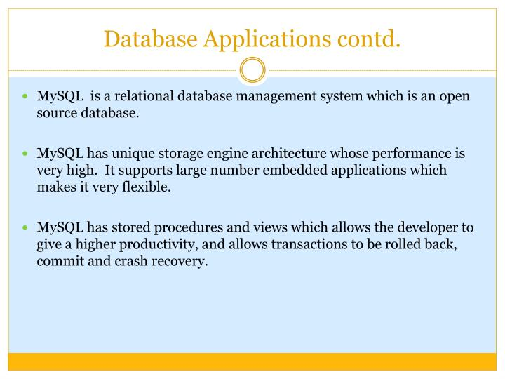Database Applications contd.