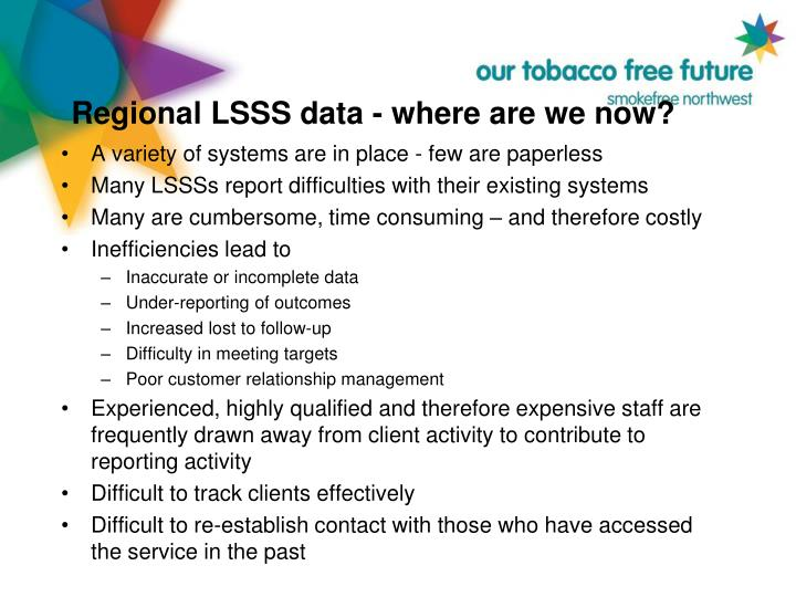 Regional LSSS data - where are we now?