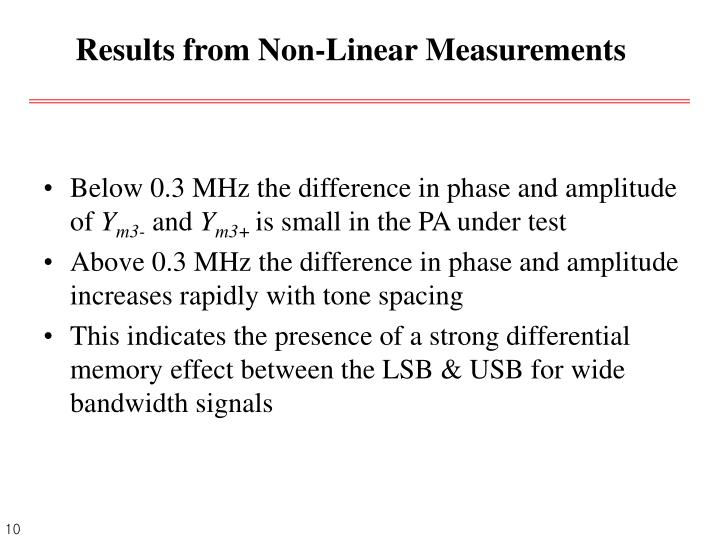 Results from Non-Linear Measurements