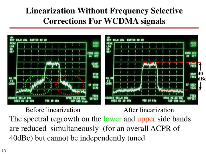 Linearization Without Frequency Selective Corrections For WCDMA signals