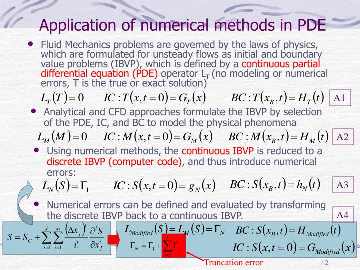 Application of numerical methods in PDE