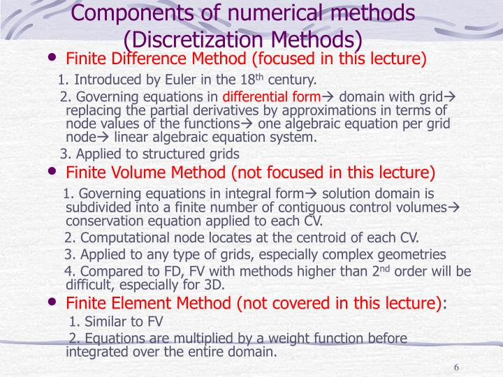 Components of numerical methods (Discretization Methods)