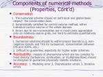 components of numerical methods properties cont d