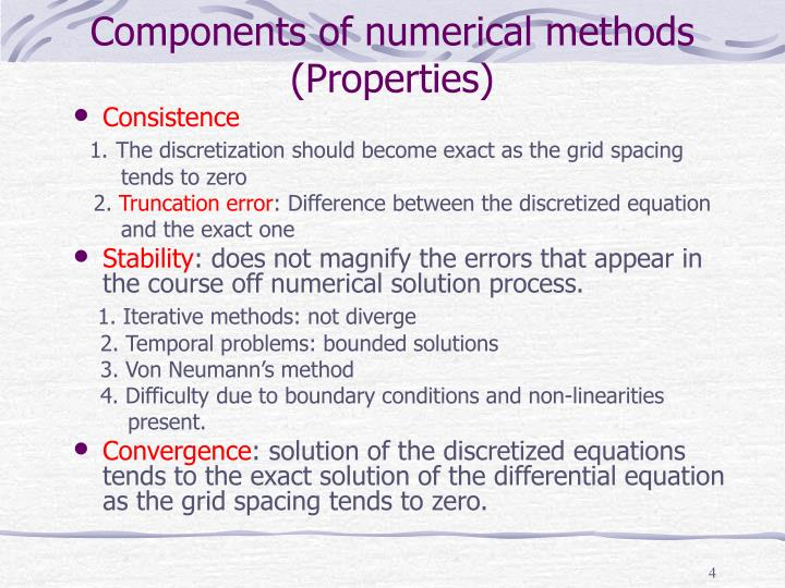 Components of numerical methods (Properties)