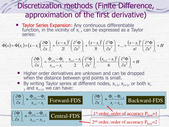 Discretization methods (Finite Difference, approximation of the first derivative)