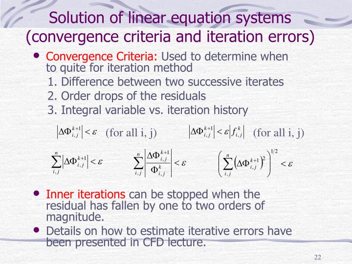 Solution of linear equation systems (convergence criteria and iteration errors)