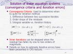 solution of linear equation systems convergence criteria and iteration errors