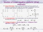 solution of linear equation systems direct methods