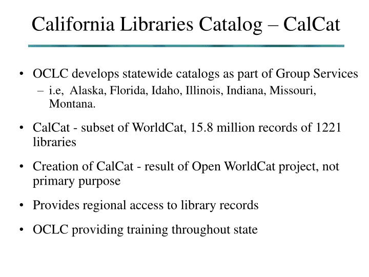 California Libraries Catalog – CalCat