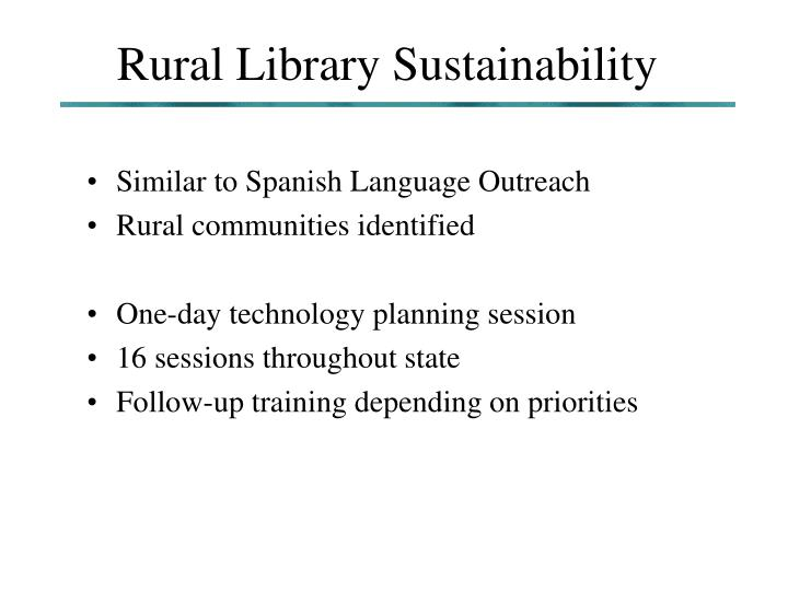 Rural Library Sustainability