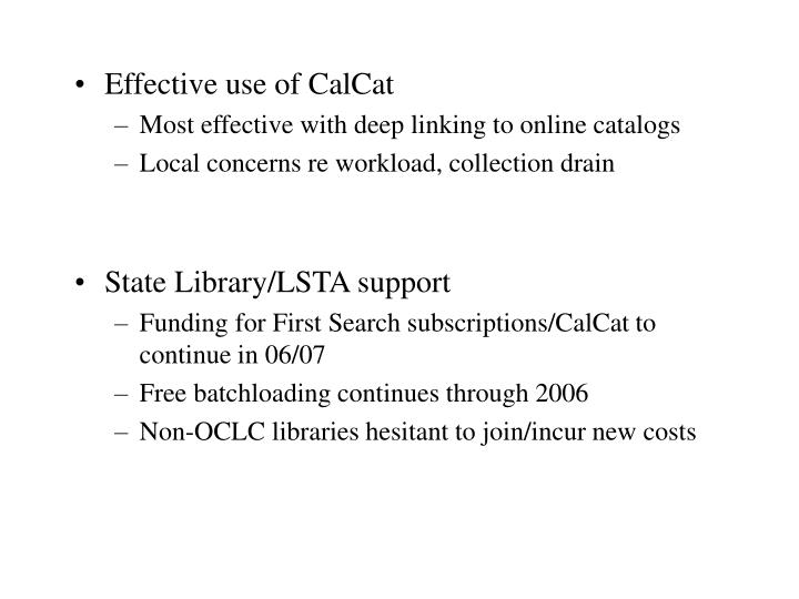 Effective use of CalCat