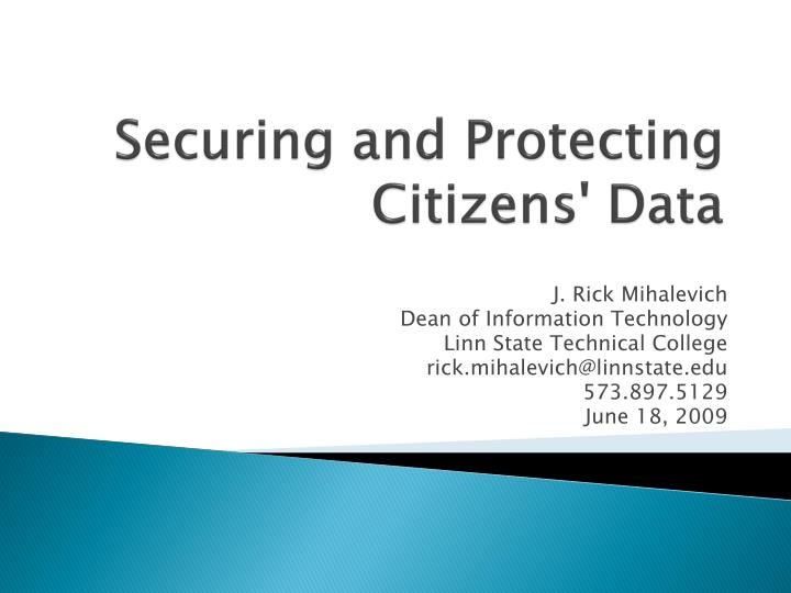 Securing and protecting citizens data