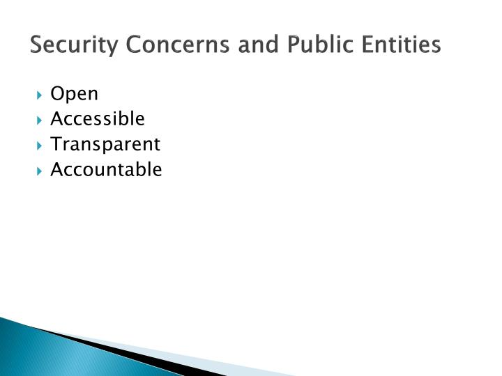 Security concerns and public entities