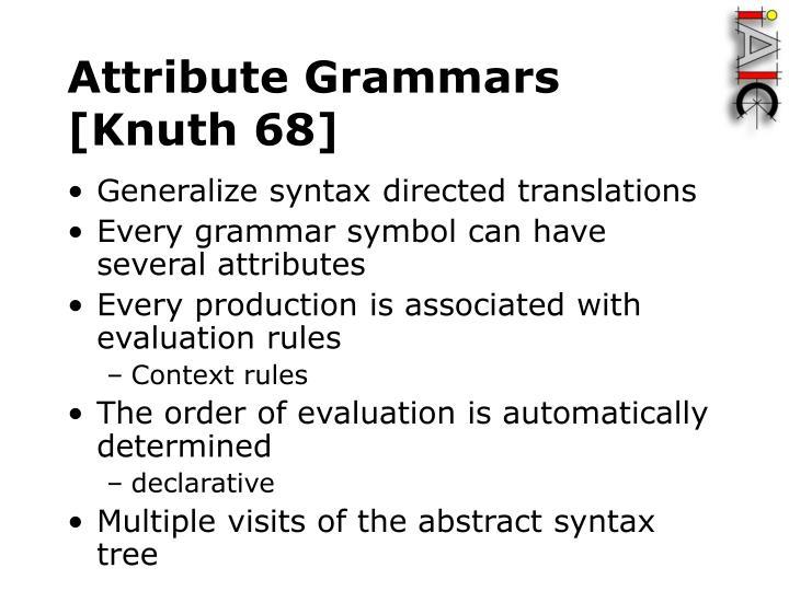 Attribute Grammars [Knuth 68]