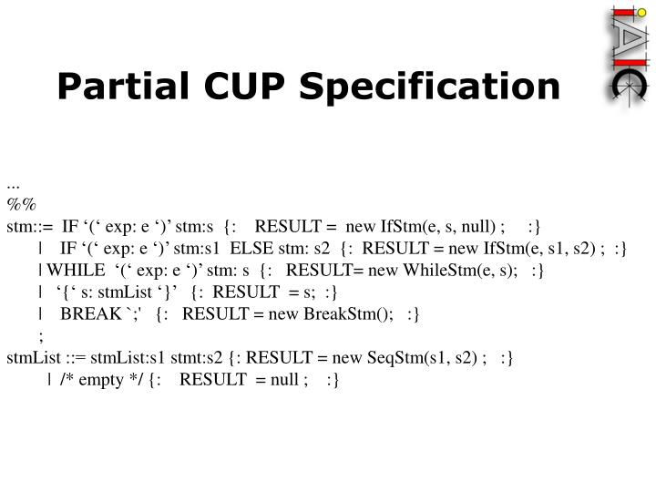 Partial CUP Specification