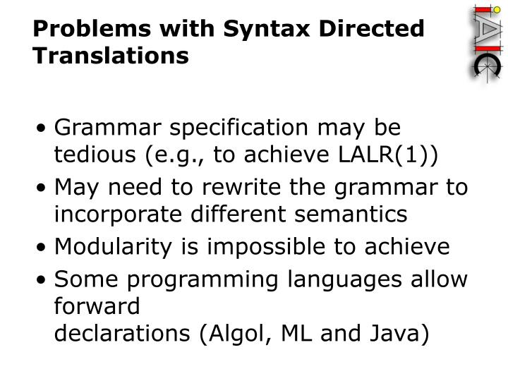 Problems with Syntax Directed Translations