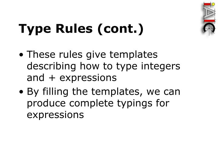 Type Rules (cont.)
