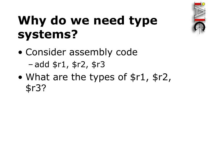 Why do we need type systems?