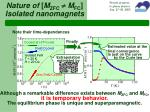 nature of m zfc m fc isolated nanomagnets