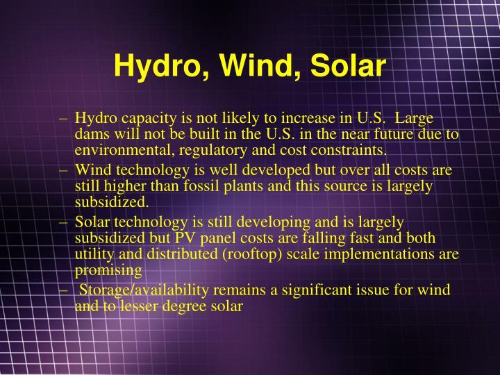 Hydro, Wind, Solar
