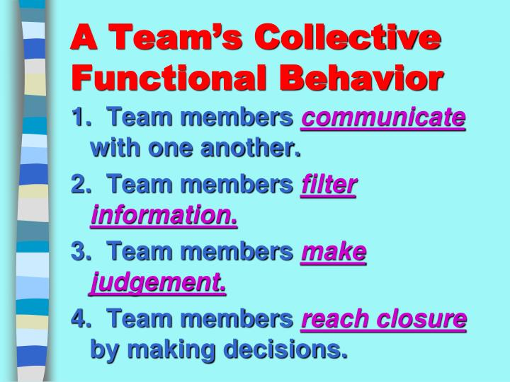 A Team's Collective Functional Behavior