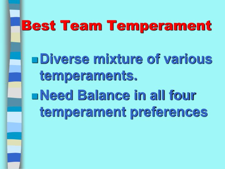 Best Team Temperament