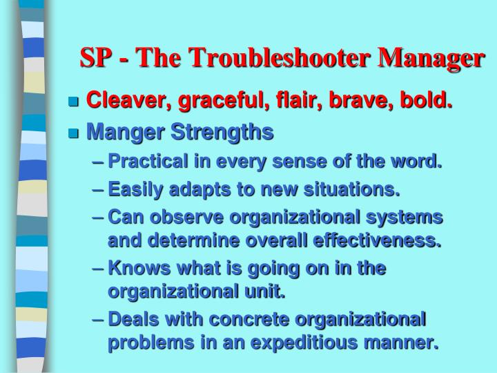 SP - The Troubleshooter Manager