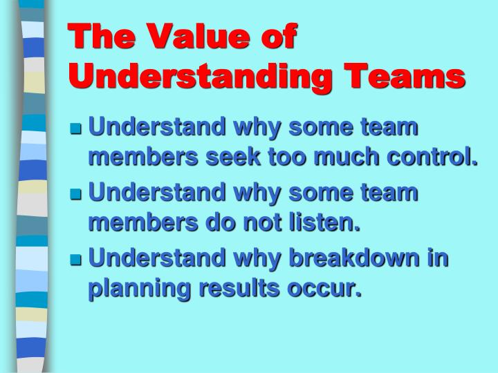 The value of understanding teams1