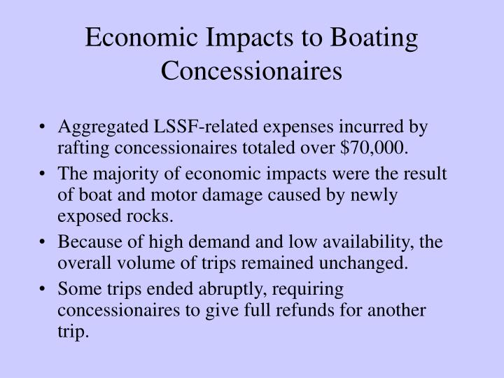 Economic Impacts to Boating Concessionaires