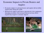 economic impacts to private boaters and anglers