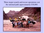 three major search and rescue operations cost the national park approximately 30 000