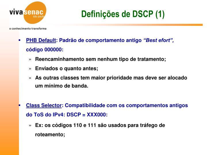 Definições de DSCP (1)